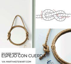 Espejos con cuerda (ideas para comprar y tutoriales para hacerlos con tus manitas) · Rope mirrors (shopping list and diy)