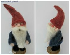 Homemade Obsessions: My First Needle Felted Gnome And Discovery Of . Wet Felting Projects, Needle Felting Tutorials, Needle Felted Animals, Felt Animals, Felt Crafts Patterns, Felt Christmas Decorations, Felt Fairy, Fabric Yarn, Fairy Dolls