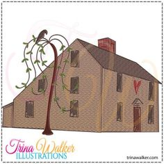 Saltbox House 1 Machine Embroidery Design 5x7 http://trinawalker.com/shop/index.php?main_page=product_info&cPath=78_79&products_id=196
