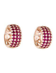 $3705.95 14K Ruby & Diamond Hoop