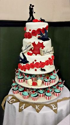 Tattoo inspired swallows on this #rocknroll #rockabilly #wedding #cake.