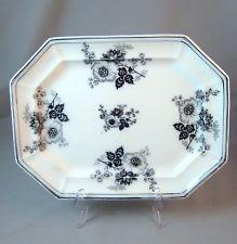 Flow Mulberry Black Transferware Ironstone Octagon Platter - Rose - c. 1845-1851