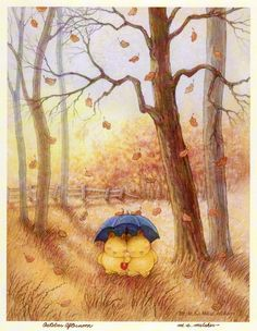 autumn leaves falling by Mary Melcher Golden Rain Tree, Bird Painting Acrylic, October Afternoon, Autumn Illustration, Autumn Cozy, Illustrations, Cartoon Pics, Autumn Leaves, Cute Art