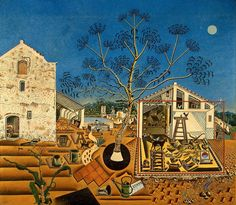 "The Farm | Joan Miro | 1921-1922 Not normally know for his landscapes, this painting was a ""a summary of my entire life in the countryside""."