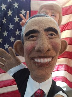 """needle felted Obama and Trump """"Bunny Ears"""" by Laura Lee Burch"""