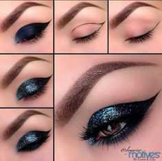 35 Glitter Eye Makeup Tutorials - Glittery Cat Eyes Makeup Tutorial - Step By Step DIY Glitter Eye Make Up Tutorials that WIll Make Yours Eyes Sparkle - Silver and Gold Linda Hallberg Looks, Awesome Eyeshadow Products, Urban Decay and Looks for Your Eyebrows to Make You Look Like a Beauty - thegoddess.com/glitter-eye-makeup-tutorials #makeupglitter #urbandecaymakeup