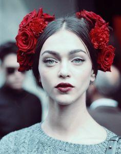 Zhenya Katava after Dolce&Gabbana Spring 2015.