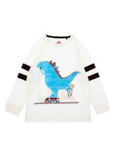 This top will make a great update to his clothing collection. With a skating dinosaur design, it features ribbed trims and long sleeves. Boys white dinosaur skate top Long sleeves Ribbed trims Keep away from fire