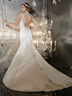 Balletts Bridal - 20477 - Wedding Gown by Jacquelin Bridals Canada - Silky Satin Low Cutout Back. Beaded necklace detail across the back. Beaded Illusion tank. Beaded detail on train hem. Paneled trumpet skirt. Zipper back Semi Catherdral train.