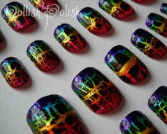 http://www.etsy.com/listing/78968086/lisa-frank-inspired-rainbow-crackle-hand    Rainbow shatter nails!