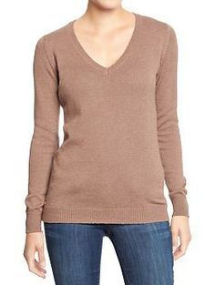 Old Navy. 57% Cotton, 43% Polyester. $24.94. Classic V-Neck Sweater. 4/5 Stars. Many colors.