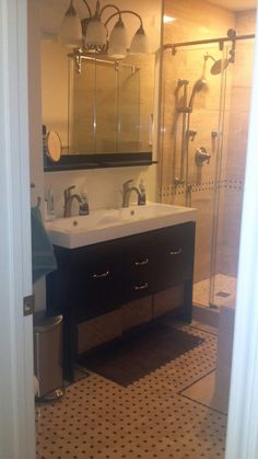 love the vanity and mirror. offset sink to one side! | decor