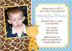 Giraffe Birthday Party Invitation  DIY Print Your by jcbabycakes, $12.00