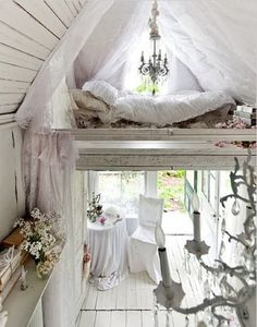 Old Victorian cottage loft bed