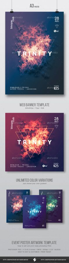 Minimal, progressive techno party flyer & web banner artwork template