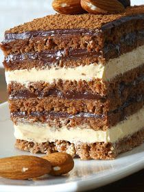 "Bucataria Stefaniei: Tort ""Opera"" Sweets Recipes, Baking Recipes, Cake Recipes, Sweet Desserts, Easy Desserts, Cobb, Romanian Desserts, Chocolate Garnishes, Kolaci I Torte"