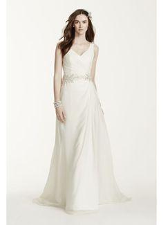 Chiffon A-Line Wedding Dress with Beaded Waist V3677