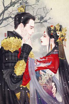 The Chinese who is fascination ~ ASIAN ~ Anime Couples Drawings, Anime Couples Manga, Anime Love Couple, Couple Art, Art Anime, Anime Art Girl, Chinese Drawings, Japon Illustration, Botanical Illustration
