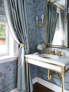Powder room brass gild vanity chinoiserie wallpaper circa lighting sconce
