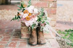 Cowboy Boots For Wedding With Flowers