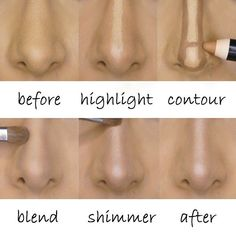 Make up contour makes the nose on your face look nothing like the nose on your face. Nose Contouring, Contour Makeup, Contouring And Highlighting, Skin Makeup, Strobing Makeup, Big Nose Makeup, Big Nose Beauty, Contouring For Oval Face, Makeup Ideas