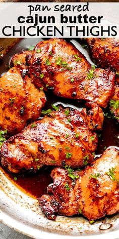 Moist, juicy & tender Pan Seared Cajun Butter Chicken Thighs. They're flavorful, rich, and cooked in a spicy Cajun rub and topped with velvety butter sauce. Pan Seared Chicken Thighs, Boneless Chicken Thighs, Meals With Chicken Thighs, Stove Top Chicken Thighs, Cooking Chicken Thighs, Easy Chicken Thigh Recipes, Best Chicken Recipes, Turkey Thigh Recipes, Chicken Thights Recipes