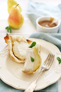 Pears stuffed with ice cream and baked with phyllo dough. #recipe from YummyMummyKitchen.com