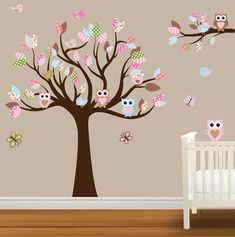 I LOVE THIS FOR A BABY GIRLS ROOM!!! Children Wall Decal Baby Nursery Wall Stickers Owl wall decal Birds butterflies.