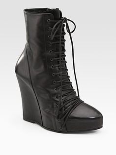 Ann Demeulemeester - Leather Lace-Up Wedge Ankle Boots  $1515