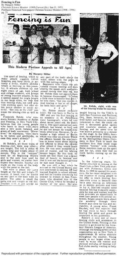1953 Article about Maître Frederick Rohde's. Fencing, Words, Guns, Fences, Horse