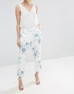 Image 4 ofASOS PETITE SALON Cigarette Trousers in Blue Floral Print