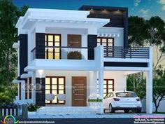 25 lakhs cost estimated double storied home is part of Kerala house design - 3 bedroom, 1755 square feet lakhs cost estimated double storied home by Dream Form from Kerala 2 Storey House Design, Duplex House Plans, Bungalow House Design, House Front Design, Duplex Design, Modern Exterior House Designs, Modern Small House Design, Modern House Facades, Indian House Plans