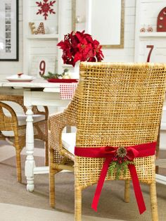 Wrap a bow around chairs using two-inch-wide un-wired ribbon.