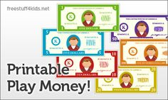 Head over to Free Stuff 4 Kids for two sets of free printable play money. One set has $1, $5, and $10 denominations and another
