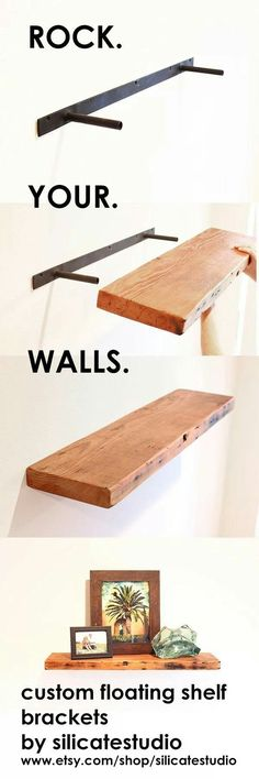 Check out the tutorial on how to make DIY hanging rope shelves . - Do it yourself decoration - Wonderful tricks: floating glass shelves lighting floating shelves bedroom … – Do it yourself d - Custom Floating Shelves, Floating Shelf Brackets, Floating Shelves Bedroom, Bathroom Shelves, Ikea Shelves, Bathroom Storage, Wall Storage, Shelving Brackets, Shelf Wall