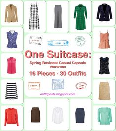 """Another """"One Suitcase: 30 outfits"""" post, this time for Spring Business Casual...love it!"""