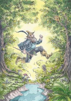 """""""Old Tom Bombadil is a merry fellow, Bright blue his jacket is, and his boots are yellow. None have ever caught him yet, for Tom, he is the master: His songs are stronger songs, and his feet are faster."""" (art by WilliWeissfuss)"""