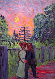 """Moonrise, Soldier and Maiden 1905. Ernst Ludwig Kirchner (1880-1938) was a German expressionist painter & printmaker and a founder of Die Brücke, a key group leading to the foundation of Expressionism in 20th-century art. He volunteered for army service in the First World War, but soon suffered a breakdown and was discharged. In 1933, his work was branded as """"degenerate"""" by the Nazis and in 1937 over 600 of his works were sold or destroyed. In 1938 he committed suicide by gunshot."""