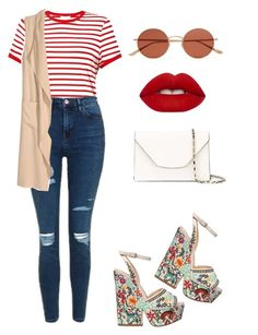 """""""I found Waldo."""" by elliee16 ❤ liked on Polyvore featuring Miss Selfridge, Sergio Rossi, Topshop, Oliver Peoples, Valextra, Lime Crime and H&M"""