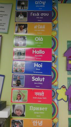"""Hello in Multiple Languages. During our """"Morning Meeting"""" my students decide in which language they would like to greet each other. I purchased this set at Lakeshore."""