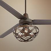 52 Edison Rustic Ceiling Fan w Industrial Cage Light Ceiling fan