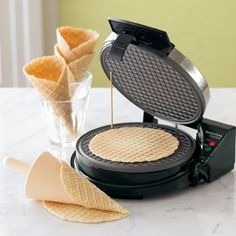 http://www.ahomd.com/category/Waffle-Maker/ Waffle Cones with Optional Chocolate Dip Homemade