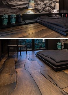 interior design and architecture This Unique Wood Flooring Fits Together Like Puzzle Pieces Tips To Luxury Bedroom Design, Home Room Design, Home Interior Design, Purple Bedroom Design, Unique Flooring, Wood Flooring, Salas Home Theater, Luxurious Bedrooms, Modern Bedrooms