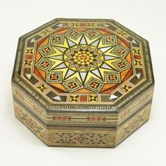 Wood Inlay Box, handcrafted in Syria. Walnut, olive, lemon, peach and rose wood, with mother of pearl accents. Incredible craftsmanship. – Dogwood Hill Gifts