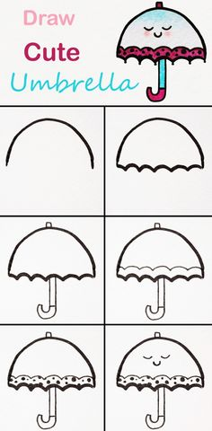 Learn to draw a cute umbrella step by step ♥ very easy . Learn to draw a cute umbrella step by step . Easy Drawing Tutorial, Easy Drawing Steps, Step By Step Drawing, Drawing Tips, Drawing Drawing, Drawing Ideas, Drawing Sketches, Learn Drawing, Easy Drawings For Kids