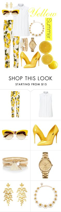 """Yellow summer"" by vaiva5789 on Polyvore featuring Dolce&Gabbana, John Lewis, River Island, Lacoste and Mallarino"
