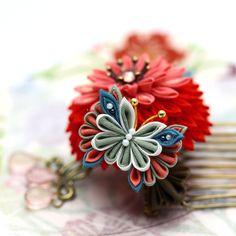 レトロピンク「花蝶舞」つまみ細工 コーム かんざし 和 髪飾り|浴衣 着物|即納
