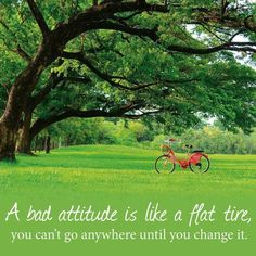 """A bad attitude is like a flat tire; you can't go anywhere until you change it."""