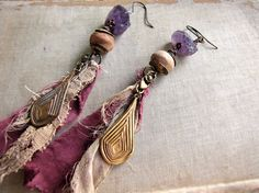 painted  raw amethyst earrings  romantic vintage by sparrowsalvage