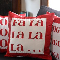 Make these cute pillows to add some holiday cheer to your living room with an easy freezer paper stencil!